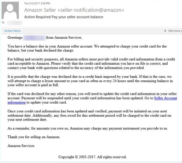 Seller Beware :: Amazon Email Scam - IT Resource